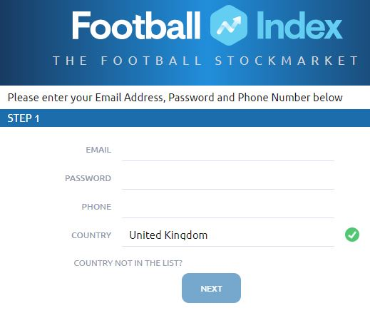 Register at Football Index