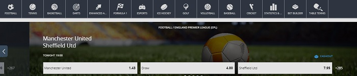 Available Sports on Betsson